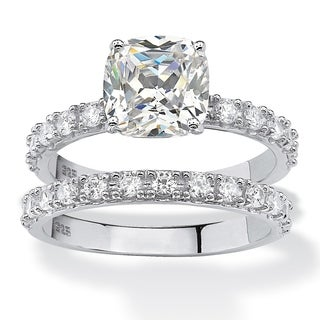 PalmBeach Platinum Over Silver Cushion-cut Cubic Zirconia Bridal Ring Set Classic CZ