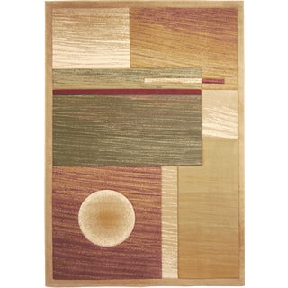 Revolution Contemporary Beige Area Rug (7'10 x 10'10)