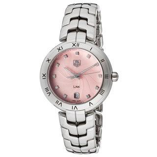 Tag Heuer Women's WAT1313.BA0956 Link Diamond Pink Guilloche Dial Steel Watch