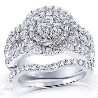 Annello 14k White Gold 2 1/4ct TDW Diamond Halo Cluster Bridal Ring Set (H-I, I2-I3) with Bonus Item