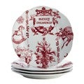BonJour Dinnerware Yuletide Garland Print 4-piece Porcelain Stoneware Fluted Salad Plate Set