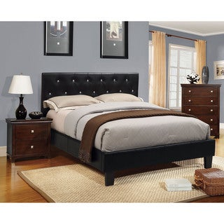 Furniture of America Mircella 2-Piece Black Leatherette Platform Bed with Nightstand Set
