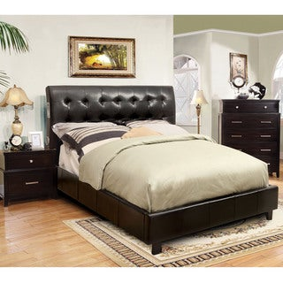 Furniture of America Perrington 2-piece Espresso Bluetooth Speaker Bed with Nightstand Set