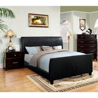 Furniture of America Benedicte Modern Espresso 2-piece Sleigh Bed with Nightstand Set