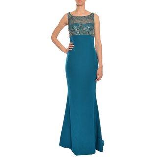 Marchesa Notte Women's Elegant Dark Teal Silk Beaded Illusion Evening Gown Dress
