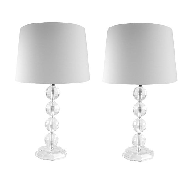 Clear Acrylic Stacked Globe Table Lamps (Set of 2 ...