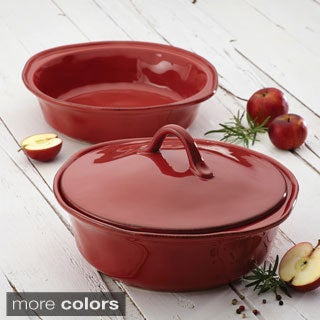 Rachael Ray Cucina Stoneware 3-piece Round Baker and Lid Set