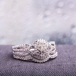 Haylee Jewels Sterling Silver 1/6ct TDW Diamond Ring Set (H-I, I2-I3)