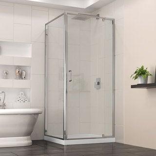 DreamLine Flex 32-in. W x 32-in. D x 74.75-in. H Frameless Shower Enclosure and Base Kit