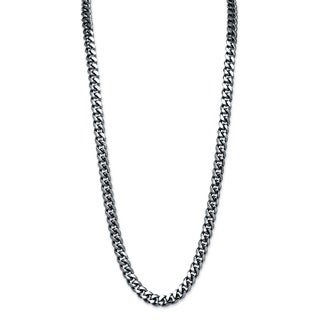 PalmBeach Men's Black Ruthenium-plated Curb-link Necklace