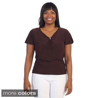 Hadari Women's Plus Size Casual V-neck Top