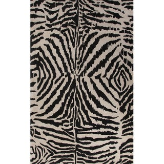 Hand Tufted Animal Pattern Black/ Ivory Wool Area Rug (5' x 8')