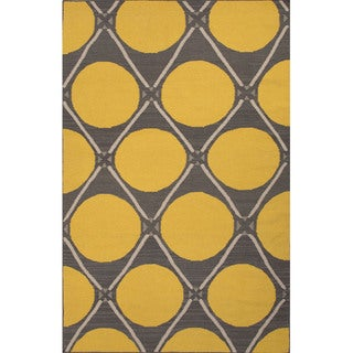 Flat Weave Geometric Pattern Gold/ Grey Wool Area Rug (4'x6')