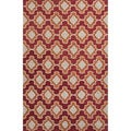 Handmade Geometric Pattern Red/ Orange Polyester Area Rug (7'6 x 9'6)