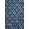 Handmade Geometric Pattern Blue Polyester Area Rug (7'6 x 9'6)