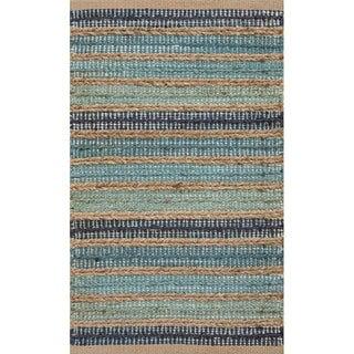 Handmade Blue/ Natural Jute/ Cotton Area Rug (2' x 3'4)