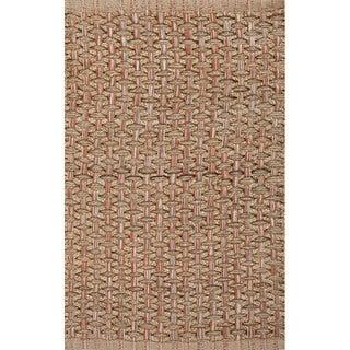 Handmade Natural/ Orange Jute/ Cotton Area Rug (2'x3'4)