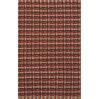 Handmade Abstract Pattern Red/ Natural Jute/ Cotton Area Rug (2'x3'4)