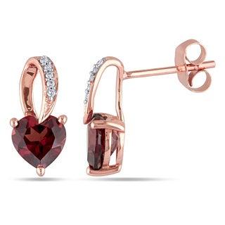 Miadora 10k Rose Gold Garnet and Diamond Accent Heart Earrings