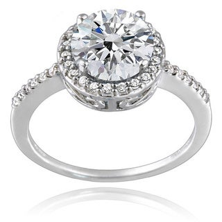 Icz Stonez Platinum Plated Sterling Silver 2ct TGW 100 Facets Cubic Zirconia Halo Ring