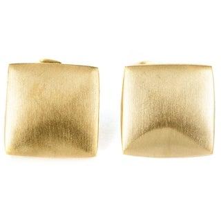 Elya Brushed Stainless Steel Domed Square Stud Earrings