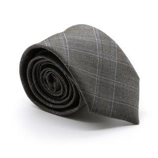Zonettie by Ferrecci Hamilton Charcoal Plaid Slim Necktie and Pocket Square Set