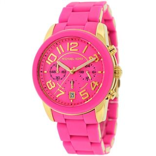 Michael Kors Women's MK5890 Mercer Pink Silicone Chronograph Watch