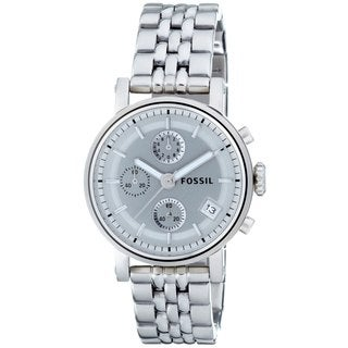 Fossil Women's ES2198 Stainless Steel Bracelet Silver Analog Dial Chronograph Watch