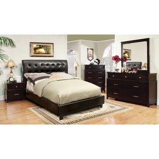 Furniture of America Perrington 4-Piece Espresso Bluetooth Speaker Bedroom Set