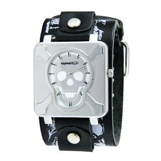 Nemesis Men's Silvertone Crossbones Leather Watch