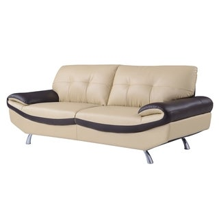 Cappuccino and Chocolate Bonded Leather Sofa