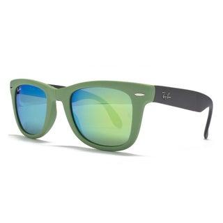Ray-Ban Wayfarer Folding Classic Sunglasses 50mm - Green Frame/Green Mirror Lens