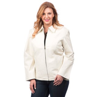 Women's Plus Size Leather Jacket with Zip-out Liner