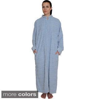 NDK New York Women's Zipper Front Chenille Robe