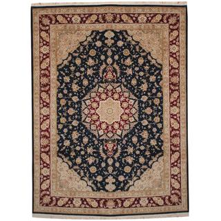 Herat Oriental Indo Hand-knotted Tabriz Navy/ Red Wool and Silk Rug (8'8 x 11'9)