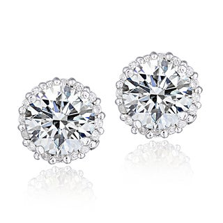Icz Stonez Platinum Plated Sterling Silver 2ct TGW 100 Facets Cubic Zirconia Halo Stud Earrings