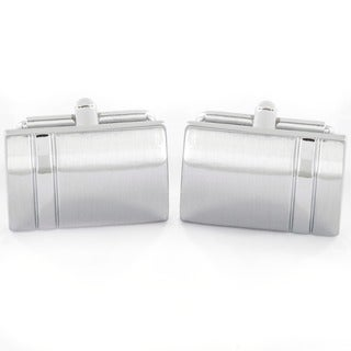 Stainless Steel Men's Brushed/ High Gloss Cuff Links