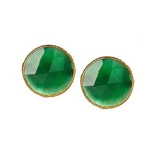 Saachi 18k Gold Clad Faceted Stud Gemstone Earrings (India)