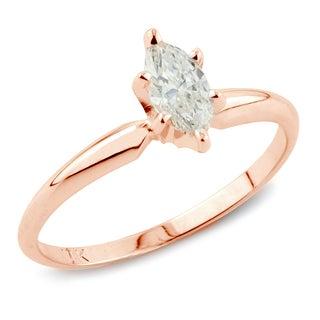 Auriya 14k Rose Gold 1ct TDW Marquise Diamond Engagement Ring (I-J, I1)