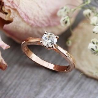 Auriya 14k Rose Gold 1/2ct TDW Round Diamond Solitaire Engagement Ring (K-L, I2-I3)
