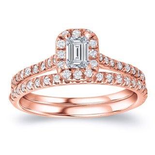 Auriya 14k Rose Gold 1ct TDW Emerald Diamond Halo Bridal Ring Set (H-I, SI1-SI2)