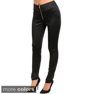 Shop The Trends Junior's Slim Leg Stretch Fit Knit Pants with Zipped Front Closure