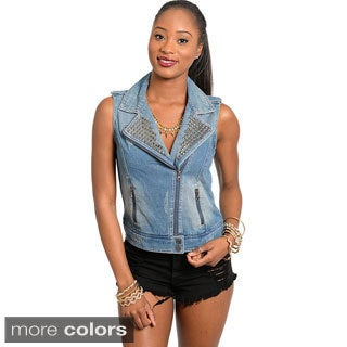 Shop The Trends Junior's Sleeveless Moto Style Denim Vest with Semi Faded Wash