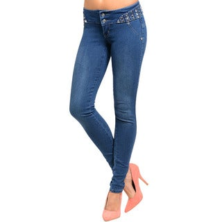 Shop The Trends Junior's Skinny Light Wash Denim Jeans with Embellished Wide Waistband