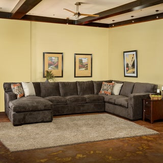 Somette Grande Down Wrapped Grey Fabric Sectional Sofa