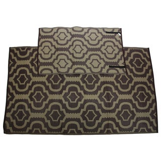 Somette Homesuite Brown Geometric Rug (5' x 8') with Bonus Trellis Carafe Runner (3' x 5')