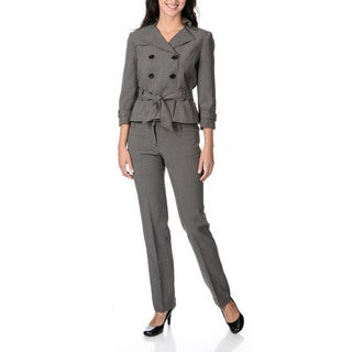 Zac & Rachel Women's Checker Print Double-breasted Belted Pant Suit