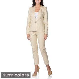Zac & Rachel Women's Stretch Collarless Pant Suit