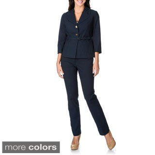 Zac and Rachel Women's Stretch Belted 2-piece Pant Suit