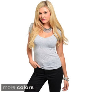 Shop The Trends Juniors Solid Semi Puff-sleeve Top